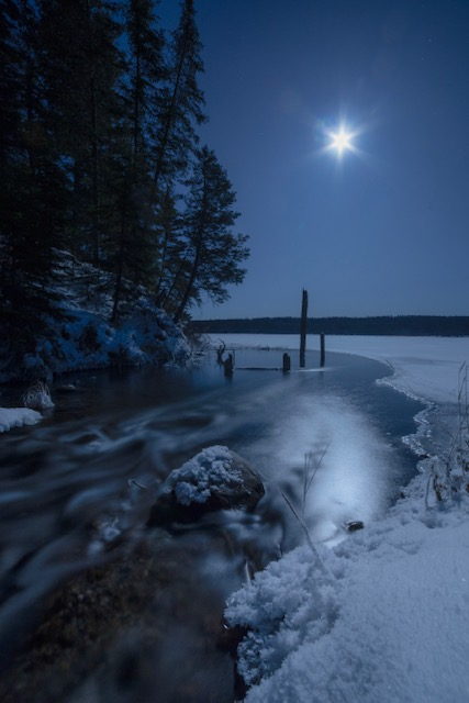 Winter photo with moonlight in Saskatchewan, Canada