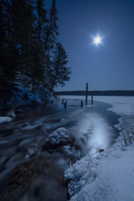 Winter photo with moonlight in Saskatchewan, Canada