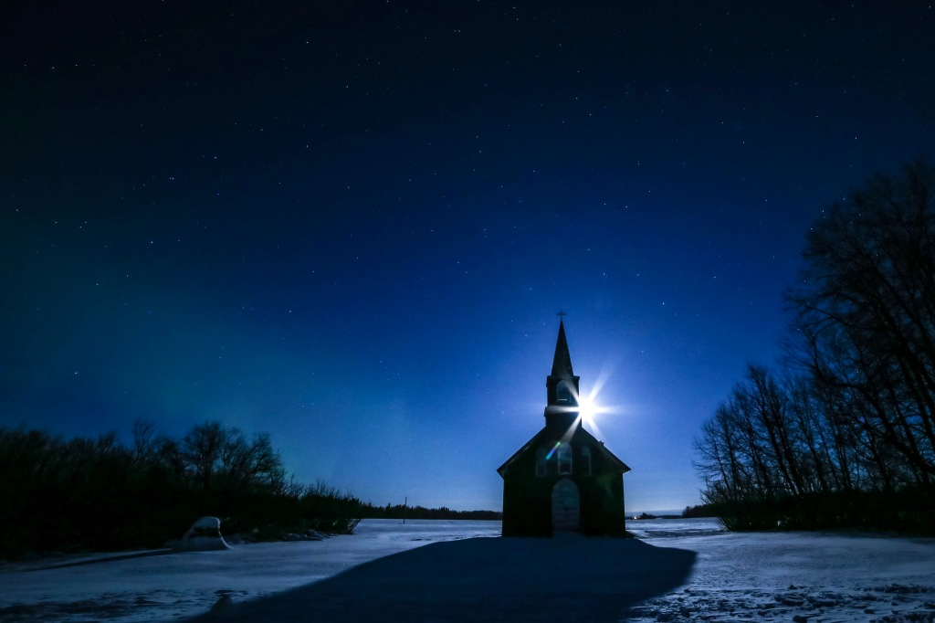 Full Moon Night Photography, Hudson Bay Saskatchewan Canada