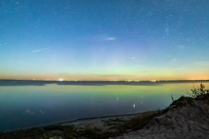 Meteor shower and northern lights at good spirit lake provincial park