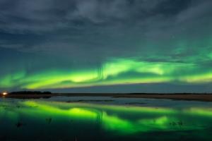 Northern alights Hudson Bay,  Saskatchewan , Canada
