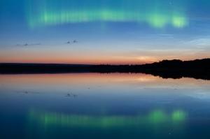 Summer northern lights during twilight
