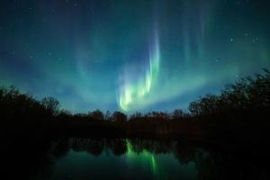 Northern lights in winter in Saskatchewan