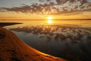 Sunrise over the water at good spirit lake Saskatchewan