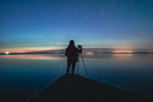 Good spirit lake nightscape with light pollution