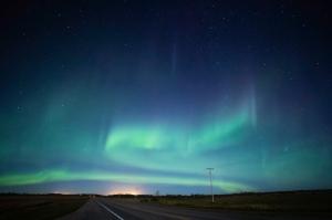 Highway Aurora Borealis Saskatchewan