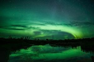 Northern lights reflect Saskatchewan canada
